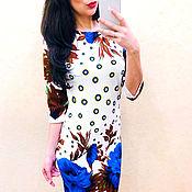 Одежда manualidades. Livemaster - hecho a mano Un vestido blanco con flores azules. Handmade.