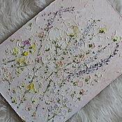 Картины и панно handmade. Livemaster - original item Lavender field flowers painting purple pink to purchase. Handmade.