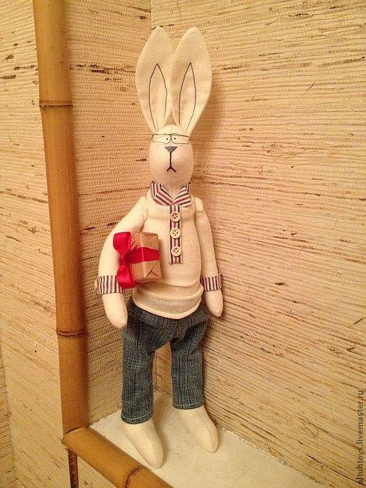 Куклы Тильды ручной работы. Ярмарка Мастеров - ручная работа. Купить Заяц Альберт. Handmade. Подарок, заяц, джинса, хлопок