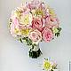 Букет невесты с георгинами и пионовидными розами