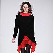 Одежда ручной работы. Ярмарка Мастеров - ручная работа Платье черное с красным. Handmade.