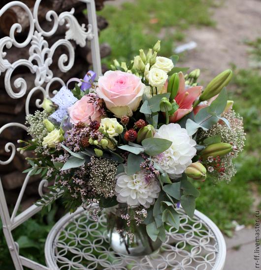 """Букеты ручной работы. Ярмарка Мастеров - ручная работа. Купить Букет  """"Мечты о лете"""". Handmade. Коралловый, орхидея, цветы, роза"""