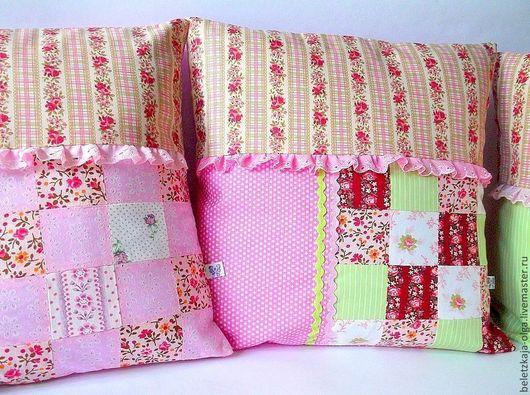 подушки наволочки декоративные красивый полезный подарок для девочки лоскутная подушка для дома и интерьера красивый уютный подарок для детской комнаты недорогой для дома и дачи ручная работа