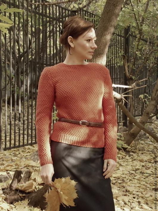 Кофты и свитера ручной работы. Ярмарка Мастеров - ручная работа. Купить Lady Like Вязаный пуловер. Handmade. Рыжий, ретро