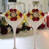 Свадебный салон ручной работы. Ярмарка Мастеров - ручная работа Бокалы свадебные ( арт. 0006). Handmade.