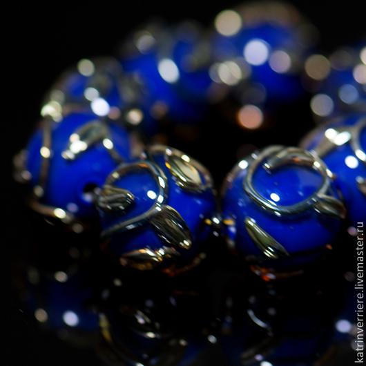 """Для украшений ручной работы. Ярмарка Мастеров - ручная работа. Купить Бусины """"Ночные узоры"""". Handmade. Тёмно-синий, узоры"""