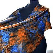 Аксессуары handmade. Livemaster - original item Scarf stole blue orange jacquard silk evening. Handmade.