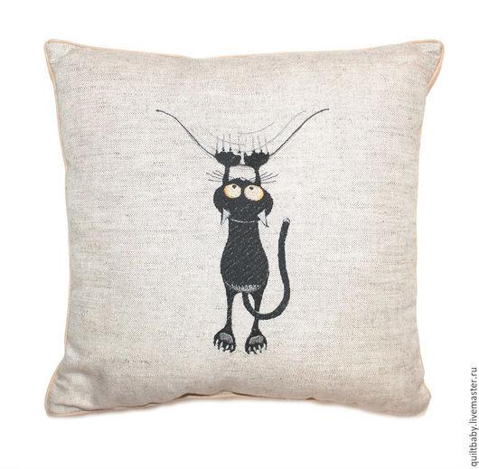 """Текстиль, ковры ручной работы. Ярмарка Мастеров - ручная работа. Купить Декоративная подушка """"Черный кот"""". Handmade. Черный"""