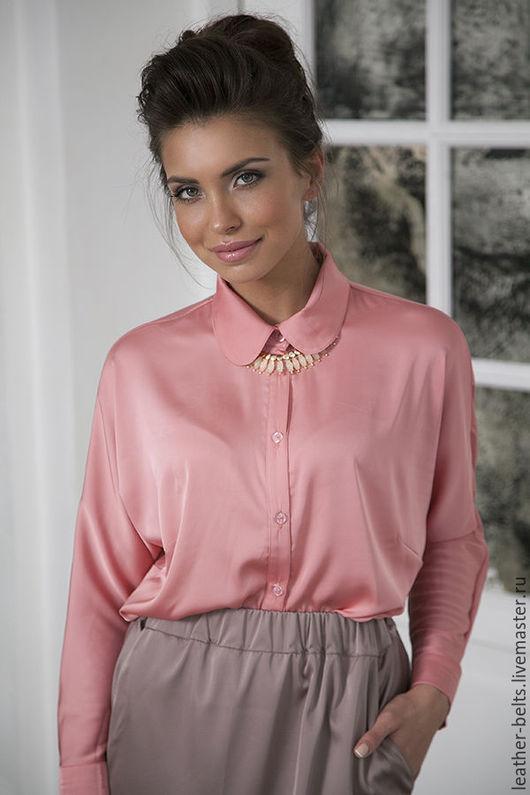 Блузки ручной работы. Ярмарка Мастеров - ручная работа. Купить Шелковая блуза. Handmade. Коралловый, индивидуальный пошив
