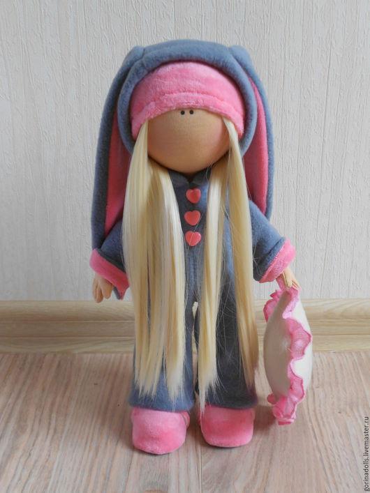 Куклы тыквоголовки ручной работы. Ярмарка Мастеров - ручная работа. Купить Текстильная кукла. Зайка. Handmade. Серый, подарок девушке