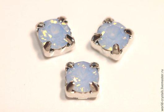 Кристаллы № 285 Air. Blue Opal. Оправы в родии. В наличии 2 шт. - РЕЗЕРВ