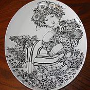 Винтаж handmade. Livemaster - original item Rare wall plate-painting