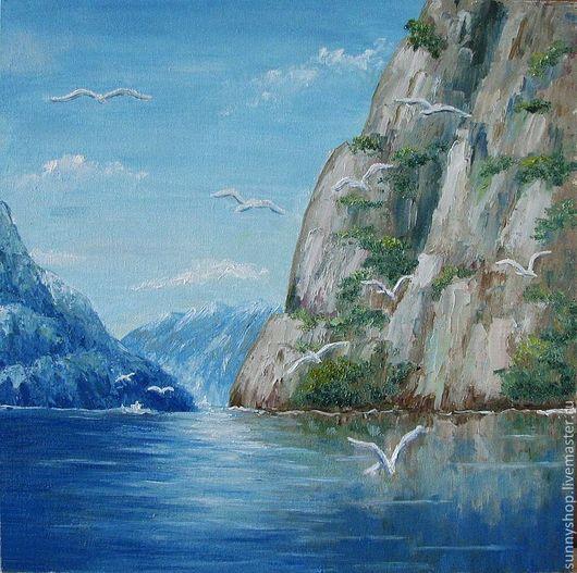Картина маслом `Чайки над морем` в багете картина море голубой в подарок купить картину в Москве картина маслом пейзаж море Визун