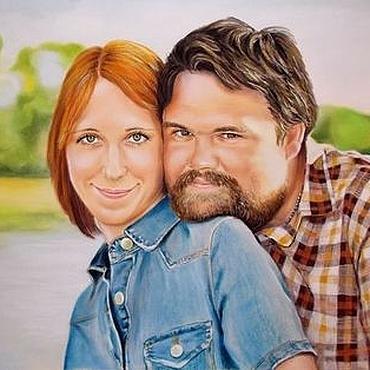 Картины и панно ручной работы. Ярмарка Мастеров - ручная работа Портрет по фото на свадьбу. Handmade.