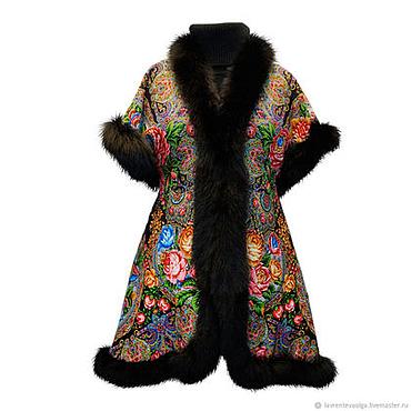 Одежда ручной работы. Ярмарка Мастеров - ручная работа Жилетка из павловопосадского платка с мехом. Handmade.
