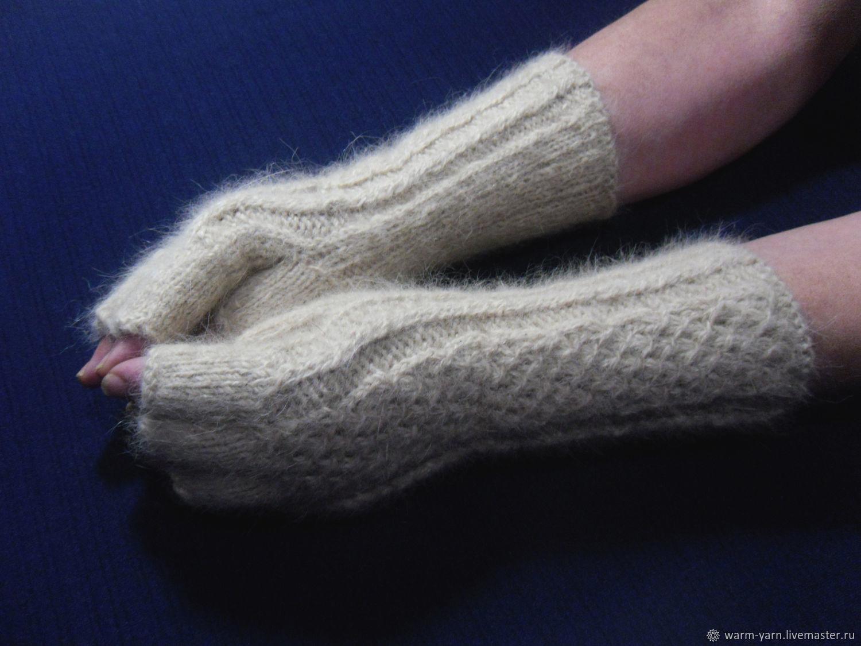 Women's knitted fingerless gloves Baked milk, Mitts, Klin,  Фото №1