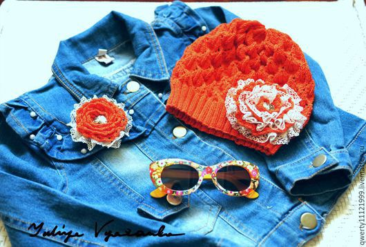 """Шапки и шарфы ручной работы. Ярмарка Мастеров - ручная работа. Купить """"Оранжевое солнце"""" летняя шапка и брошь. Handmade. Рыжий"""