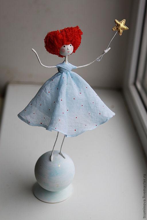 Человечки ручной работы. Ярмарка Мастеров - ручная работа. Купить Девочка на шаре. Handmade. Девочка, кукла ручной работы, текстиль