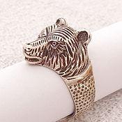 Фен-шуй и эзотерика handmade. Livemaster - original item Ring mens Bear ring-amulet made of bronze. Handmade.