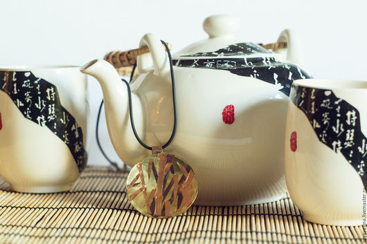"""Кулоны, подвески ручной работы. Ярмарка Мастеров - ручная работа. Купить Кулон """"Бамбук"""". Handmade. Оранжевый, подвеска кулон, латунь"""