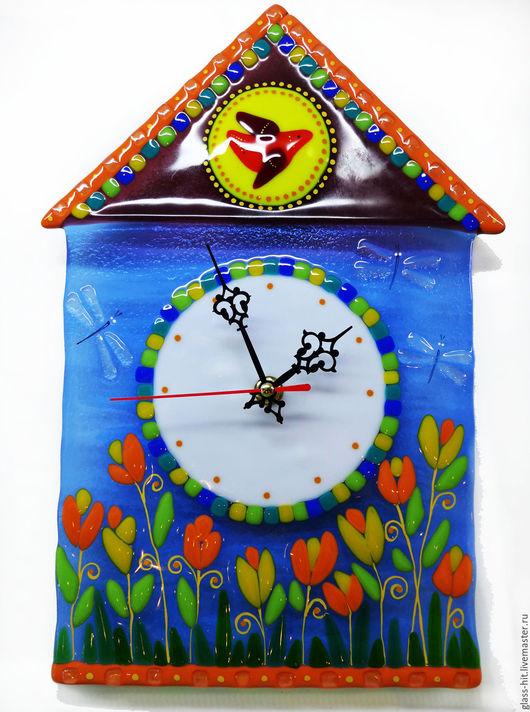 Часы со стрекозами.Стекло. Фьюзинг.
