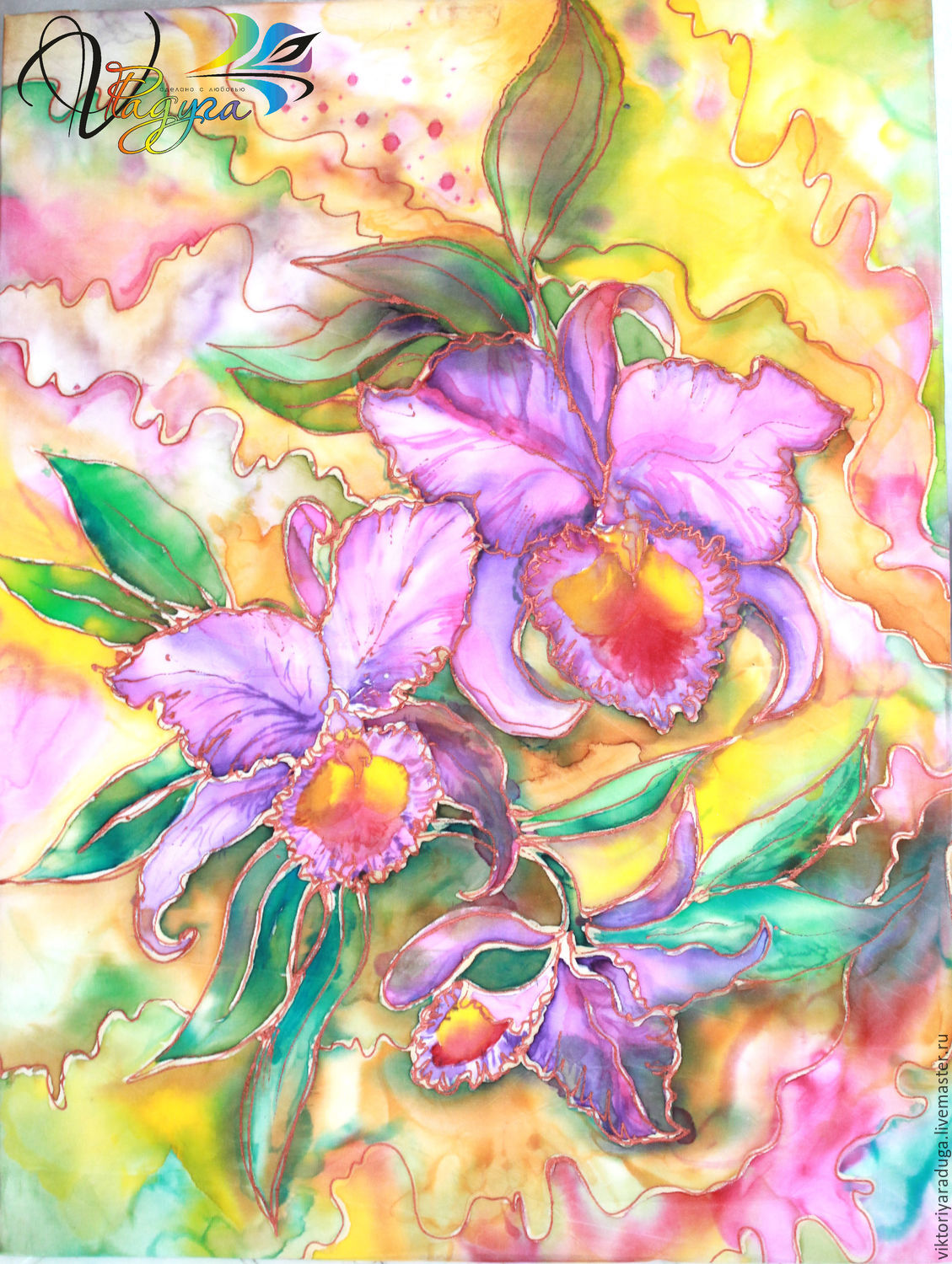 Orchid, Studio rainbow, Victoria, batik painting, batik painting, orchids, Orchid painting, Orchid gift, painting gift, batik as a gift, a gift to his beloved, a gift to a woman, gift girl