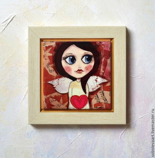 Люди, ручной работы. Ярмарка Мастеров - ручная работа. Купить Картина Девочка Ангел с Крыльями, с Красным Сердцем в Руках. Handmade.
