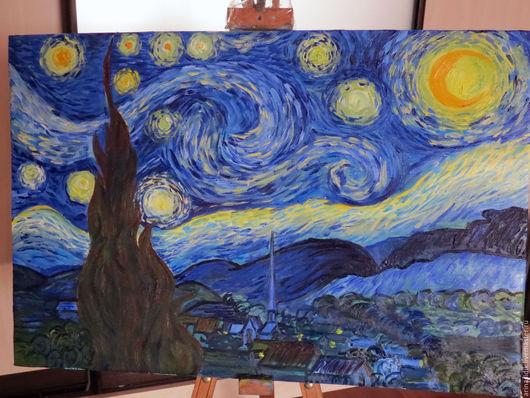 """Фэнтези ручной работы. Ярмарка Мастеров - ручная работа. Купить Картина маслом """"Звездная ночь"""". Handmade. Картина, винсент"""