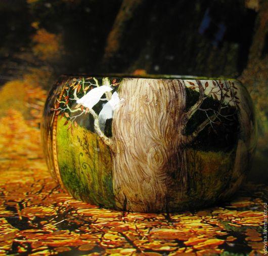 Браслеты ручной работы. Ярмарка Мастеров - ручная работа. Купить браслет Сказки белого дерева. Handmade. Разноцветный, ручная роспись