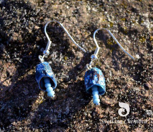 """Серьги ручной работы. Ярмарка Мастеров - ручная работа. Купить Серьги """"Перезвон"""". Handmade. Синий, полимерная глина, серьги из бисера"""