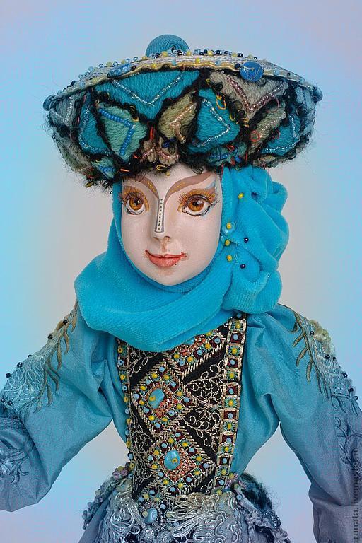 Коллекционные куклы ручной работы. Ярмарка Мастеров - ручная работа. Купить Флёр. Handmade. Бирюзовый, бисер, ткани