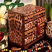 Для дома и интерьера ручной работы. Ярмарка Мастеров - ручная работа Леопардовый мини-комодик, декупаж. Handmade.