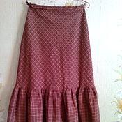 Одежда ручной работы. Ярмарка Мастеров - ручная работа Юбка женская в клетку  из льняной ткани. Handmade.