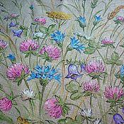 Для дома и интерьера handmade. Livemaster - original item A large linen napkin with hand painted Bouquet of wild flowers. Handmade.