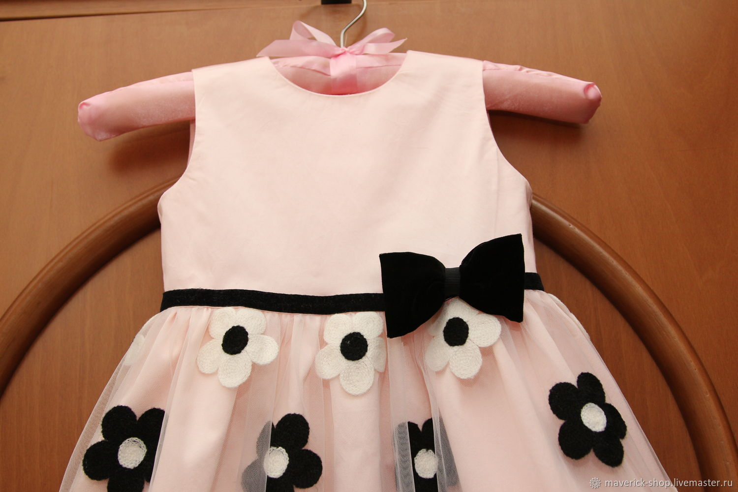 Pink Dressy Dress For Girl With Black And White Flowers Shop
