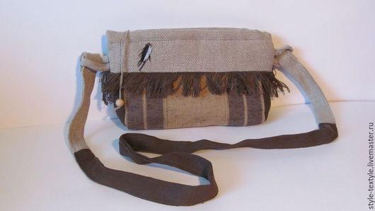 Женские сумки ручной работы. Ярмарка Мастеров - ручная работа. Купить Стильная  льняная текстильна сумка на длинном плечевом поясе. Handmade.