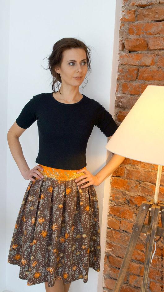 Юбки ручной работы. Ярмарка Мастеров - ручная работа. Купить юбка из натурального шелка. Handmade. Рыжий, цветочный, юбка на подкладке
