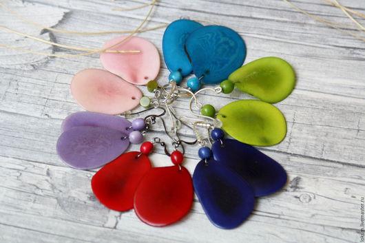 Серьги ручной работы. Ярмарка Мастеров - ручная работа. Купить Серьги Тагуа(5 цветов). Handmade. Комбинированный, серьги купить, синий