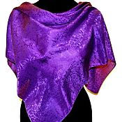 Аксессуары handmade. Livemaster - original item Purple large women`s silk shawl jacquard. Handmade.