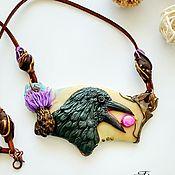 Украшения handmade. Livemaster - original item Polymer clay Raven pendant with pearls. Handmade.
