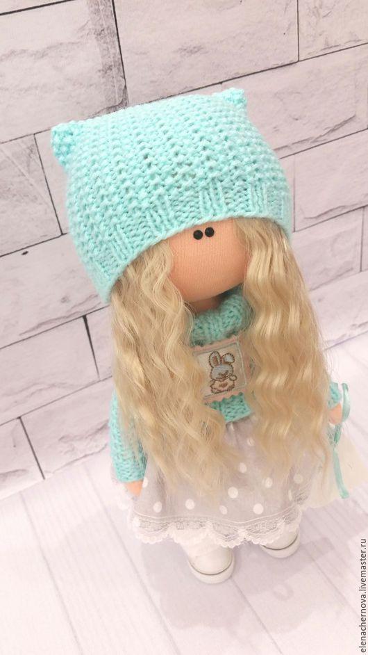Куклы тыквоголовки ручной работы. Ярмарка Мастеров - ручная работа. Купить Интерьерная кукла.. Handmade. Бирюзовый, кукла текстильная, хлопок