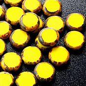 Материалы для творчества ручной работы. Ярмарка Мастеров - ручная работа Чешское стекло, чешские бусины монеты ярко-желтые, монетки, желтые. Handmade.