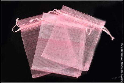 Упаковка ручной работы. Ярмарка Мастеров - ручная работа. Купить Мешочки из органзы, без рисунка, розовые, 9x12см. Handmade.