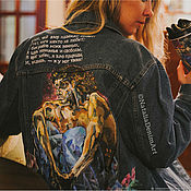 Одежда handmade. Livemaster - original item Denim jacket with print Demon Vrubel. Painting on fabric. Handmade.