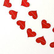 Подарки к праздникам ручной работы. Ярмарка Мастеров - ручная работа Гирлянда Красные сердца. Handmade.