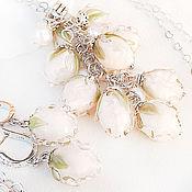 Украшения ручной работы. Ярмарка Мастеров - ручная работа Букет невесты - серьги и кулон - комплект лэмпворк. Handmade.