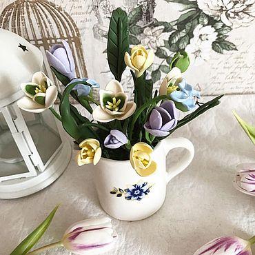 Цветы и флористика ручной работы. Ярмарка Мастеров - ручная работа Букет крокусов из полимерной глины. Handmade.