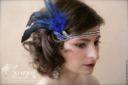 """Диадемы, обручи ручной работы. Ярмарка Мастеров - ручная работа. Купить Повязка на голову """"Blue feathers"""". Handmade. Синий, ВЕЧЕРИНКА"""