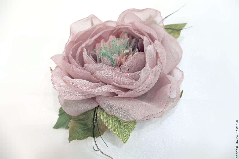 Brooch flower fabric chiffon rose ' Ash-pink', Brooches, Vidnoye,  Фото №1