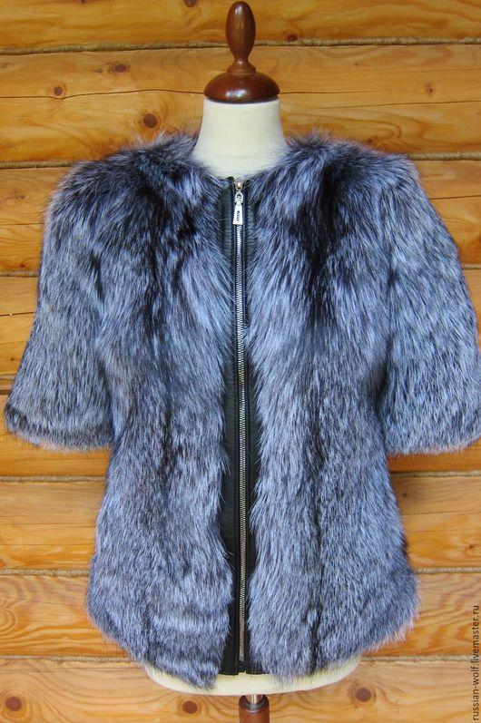 Верхняя одежда ручной работы. Ярмарка Мастеров - ручная работа. Купить Куртка-шубка из цельного меха ЧЕРНОБУРОЙ лисицы. Handmade.